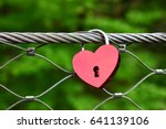 Red Heart Love Lock On The...