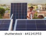 solar panel installation in... | Shutterstock . vector #641141953