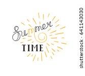summer time lettering logo....   Shutterstock .eps vector #641143030