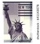 photo print statue of liberty... | Shutterstock . vector #641143078