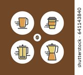 set of different flat coffee... | Shutterstock .eps vector #641143840