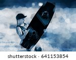 wakeboarding sportsman portrait ...   Shutterstock . vector #641153854