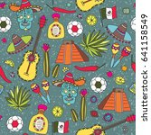 doodles seamless pattern of... | Shutterstock . vector #641158549