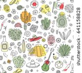 doodles seamless pattern of... | Shutterstock . vector #641158828