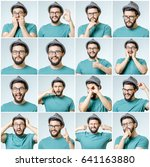set of young man's portraits... | Shutterstock . vector #641163880