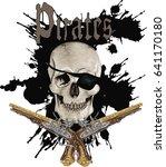 skull and  guns   vector art | Shutterstock .eps vector #641170180