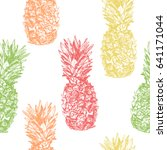 seamless pattern with pineapple ... | Shutterstock . vector #641171044