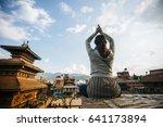 silhouette hipster girl doing... | Shutterstock . vector #641173894