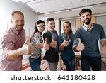 positive delighted colleagues... | Shutterstock . vector #641180428