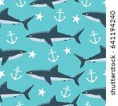 shark seamless pattern. can be... | Shutterstock .eps vector #641194240