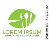 healthy food logo. vegetarian... | Shutterstock .eps vector #641198464