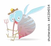 cartoon hungry mosquito holding ... | Shutterstock .eps vector #641204014