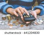 hands girl holding calculator... | Shutterstock . vector #641204830