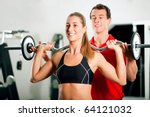 woman in gym with personal... | Shutterstock . vector #64121032