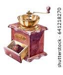 watercolor coffee grinder | Shutterstock . vector #641218270