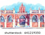 watercolor picture of gostiniy... | Shutterstock . vector #641219350