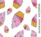 seamless pattern of cakes and... | Shutterstock . vector #641230048