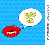 female lips with speech bubble. ... | Shutterstock . vector #641234776