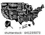 usa map with states   pictorial ... | Shutterstock .eps vector #641235073