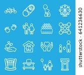 family icons set. set of 16... | Shutterstock .eps vector #641236630