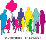 family of silhouettes. | Shutterstock .eps vector #641243014