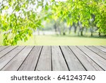 empty wooden table with garden... | Shutterstock . vector #641243740