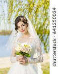 wedding. young beautiful bride... | Shutterstock . vector #641250034