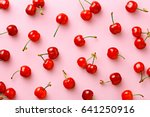 cherry pattern. flat lay of... | Shutterstock . vector #641250916