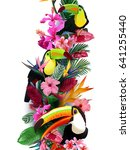 colorful tropical toucans in... | Shutterstock .eps vector #641255440