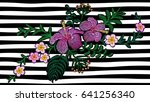 hawaii flower embroidery on... | Shutterstock .eps vector #641256340