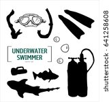 hand drawn silhouette diving... | Shutterstock .eps vector #641258608