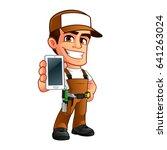 friendly carpenter  he is... | Shutterstock .eps vector #641263024
