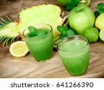 healthy green smoothie   just... | Shutterstock . vector #641266390