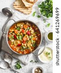 minestrone soup in a pan on a...   Shutterstock . vector #641269699