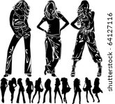 a lot of vector silhouettes of... | Shutterstock .eps vector #64127116
