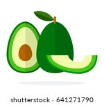 whole avocado vertical  half... | Shutterstock .eps vector #641271790