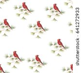 pattern red birds. watercolor... | Shutterstock . vector #641272933