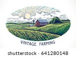 rural landscape in engraving... | Shutterstock .eps vector #641280148