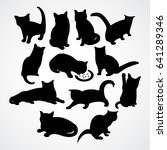 Stock vector beautiful silhouettes for cats and kittens with different poses and moves 641289346
