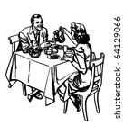 tea time   retro clipart... | Shutterstock .eps vector #64129066