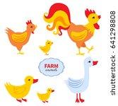 cartoon cute farmer animals ... | Shutterstock .eps vector #641298808