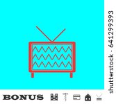 tv icon flat. red pictogram on...