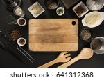 empty cutting board on dark... | Shutterstock . vector #641312368