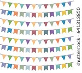 colorful bunting and garland... | Shutterstock .eps vector #641313850