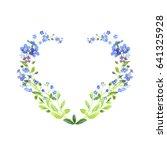 watercolor heart shaped. blue... | Shutterstock . vector #641325928