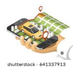 city isometric map with car and ... | Shutterstock .eps vector #641337913