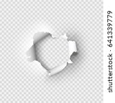 holes torn in paper on... | Shutterstock .eps vector #641339779