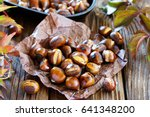 Roasted chestnuts on an old...