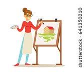woman artist holding palette... | Shutterstock .eps vector #641350210