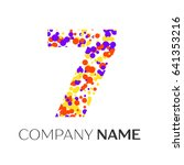 number seven logo with purple ... | Shutterstock .eps vector #641353216
